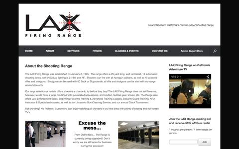 Screenshot of About Page laxrange.com - About the Shooting Range | LAX Firing Range Los Angeles - captured Nov. 3, 2014