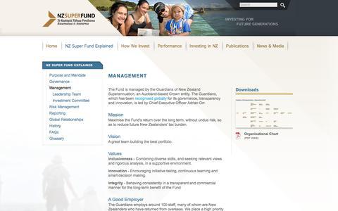 Screenshot of Team Page nzsuperfund.co.nz - Management | New Zealand Super Fund - captured Oct. 7, 2014