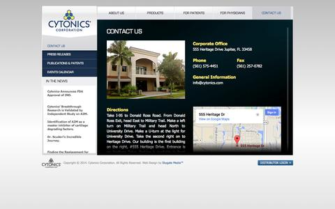 Screenshot of Contact Page cytonics.com - CytonicsContact Us | Cytonics - captured Sept. 12, 2014