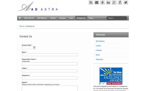 Screenshot of Contact Page adastrauk.com - Contact the Ad Astra Creative Consultancy Chichester Sussex - captured Oct. 4, 2014
