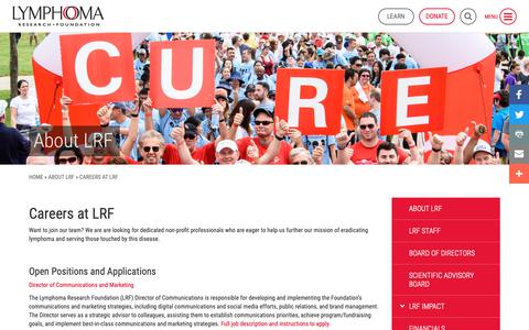 Screenshot of Jobs Page lymphoma.org - Careers - Lymphoma Research Foundation - captured Sept. 30, 2018