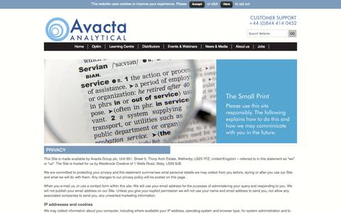 Screenshot of Privacy Page avactaanalytical.com - Privacy - Avacta Analytical - captured Sept. 30, 2014