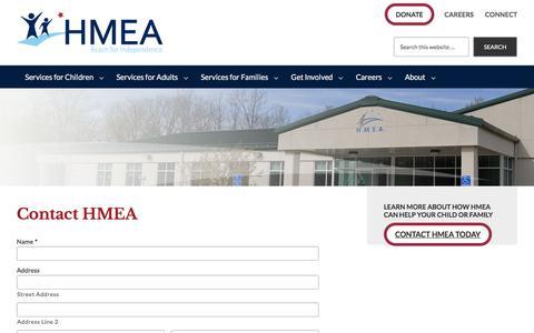 Screenshot of Contact Page hmea.org - Contact HMEA - HMEA - captured Sept. 25, 2018
