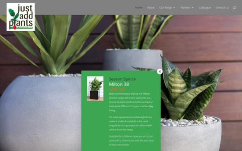 Screenshot of Home Page justaddplants.com - Floor, Table Pots, Hanging, Troughs - Simplicity in a quality plant container | Just Add Plants - captured Sept. 20, 2018