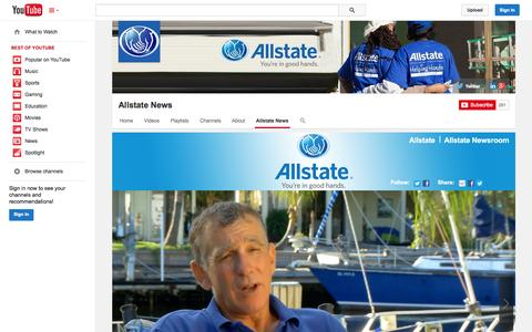 Screenshot of YouTube Page youtube.com - Allstate News  - YouTube - captured Oct. 31, 2014