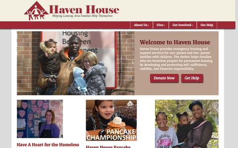 Screenshot of Home Page havenhouseel.org - Haven House of East Lansing - captured Jan. 26, 2016