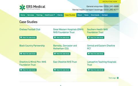 Screenshot of Case Studies Page ersmedical.co.uk - ERS Medical | Case Studies - captured Oct. 1, 2014