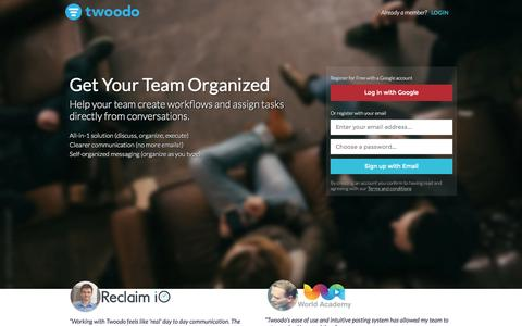 Screenshot of Home Page twoodo.com - Team Collaboration Tool | Twoodo - captured Sept. 19, 2015