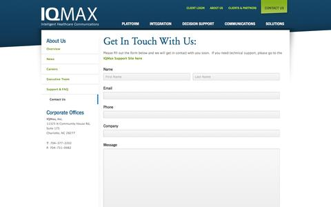 Screenshot of Contact Page iqmax.com - Contact Us | IQMax Intelligent Healthcare Communications - captured Sept. 12, 2014