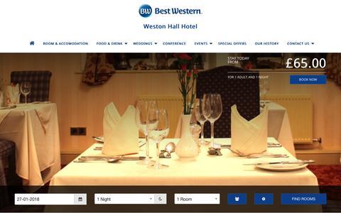 Screenshot of Home Page bw-westonhallhotel.co.uk - Homepage - captured Jan. 27, 2018
