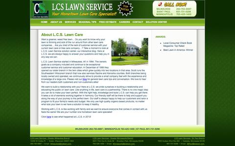 Screenshot of About Page lcslawn.com - About Lawn Care Service - Milwaukee Lawn service, Minneapolis lawn service, Saint Paul lawn service - captured Oct. 1, 2014