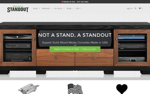 Screenshot of Home Page standoutdesigns.com - Solid Wood Media Consoles | High-End TV Stands & TV Consoles | USA - captured Aug. 4, 2015