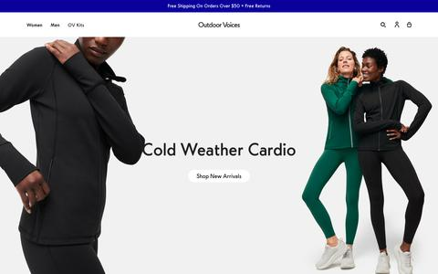 Screenshot of Home Page outdoorvoices.com - Outdoor Voices — Technical Apparel for Recreation - captured Jan. 17, 2020