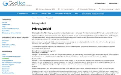 Screenshot of Privacy Page goohoo.nl - Privacybeleid van GooHoo - captured Nov. 5, 2018