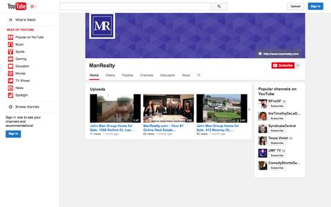 Screenshot of YouTube Page youtube.com - ManRealty  - YouTube - captured Oct. 23, 2014