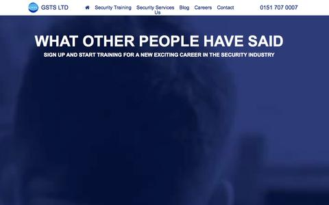 Screenshot of Testimonials Page gsts-sia.com - Security Training Liverpool | Security Services | GSTS HOME - captured Oct. 27, 2014