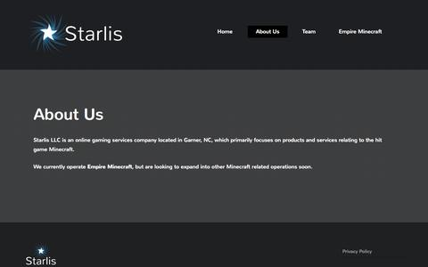 Screenshot of About Page starlis.com - About Us - Starlis - captured Sept. 30, 2014