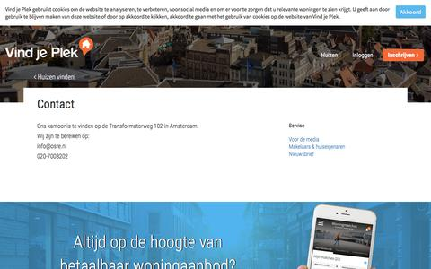 Screenshot of Contact Page vindjeplek.nl - Contact | Vind je Plek - captured Dec. 13, 2016