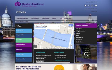 Screenshot of Locations Page chamberstravel.com - Offices - captured Oct. 2, 2014