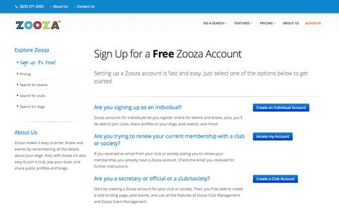 Screenshot of Signup Page zooza.com - Signup for Zooza - captured Oct. 7, 2014