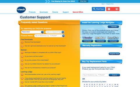 Screenshot of Support Page vtechkids.com - VTech Customer Support | VTech Kids Contact Details - captured Nov. 2, 2014