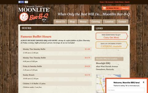 Screenshot of Hours Page moonlite.com - Moonlite Bar-B-Q Inn - Kentucky BBQ Restaurant Moonlite Menus - captured Feb. 17, 2016