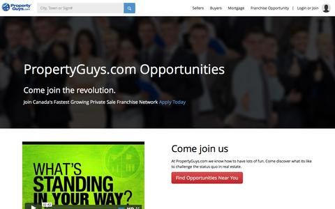 Screenshot of Jobs Page propertyguys.com - PropertyGuys.com - For Sale By Owner Real Estate and Property in Canada - Sell Your House. Pay Yourself.Jobs - captured Jan. 27, 2016