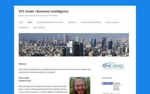 Screenshot of About Page kycisrael.com - About | KYC Israel • Business Intelligence - captured Sept. 30, 2014
