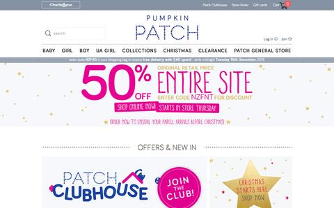 Screenshot of Home Page pumpkinpatch.co.nz - Pumpkin Patch - the premium kids clothing range available online and in stores - captured Dec. 14, 2015