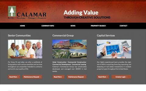 Screenshot of Home Page calamar.com - Builder, Developer, Manager and Financer - Calamar - captured July 16, 2015