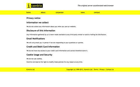 Screenshot of Privacy Page icentrix.co.uk - Privacy Policy | iCentrix Ltd - captured Sept. 30, 2014