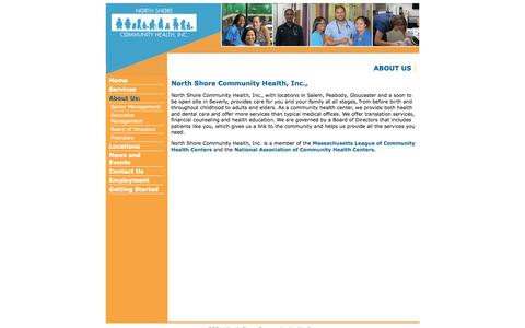 Screenshot of About Page nschi.org - North Shore Community Health | About - captured Oct. 6, 2014