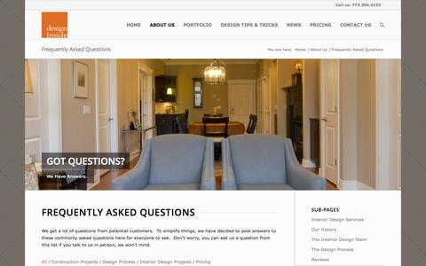 Screenshot of FAQ Page designinsidechicago.com - Answers to Common Questions About Your Interior Design Project - captured Oct. 5, 2014