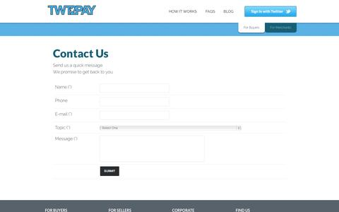 Screenshot of Contact Page Support Page twt2pay.com - Contact Form - captured Oct. 22, 2014