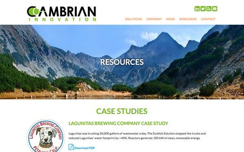 Screenshot of Case Studies Page cambrianinnovation.com - Resources   Cambrian Innovation - captured Jan. 25, 2016