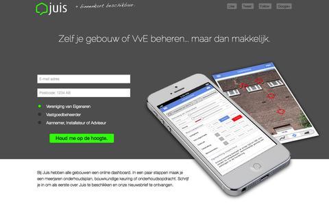 Screenshot of Home Page juis.nl - Juis - gebouwbeheer maar dan makkelijker. - captured Sept. 30, 2014