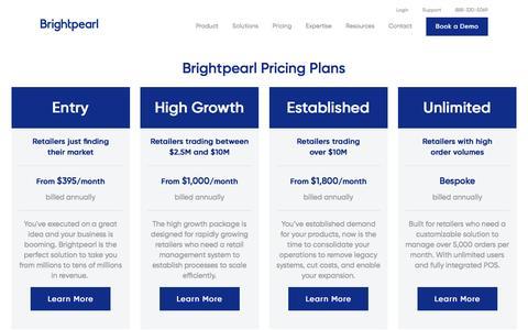 Screenshot of Pricing Page brightpearl.com - Brightpearl Software Pricing | Brightpearl - Brightpearl - captured Dec. 24, 2016