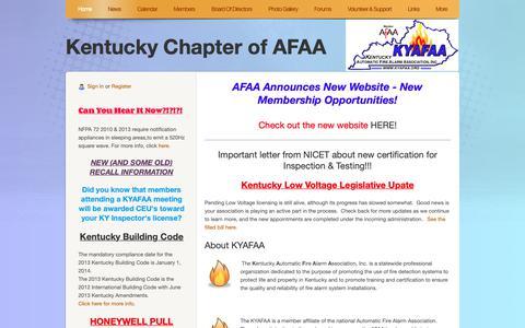 Screenshot of Home Page kyafaa.org - Kentucky Chapter of AFAA - captured Oct. 15, 2018