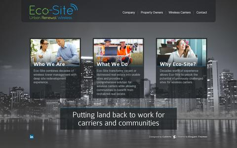 Screenshot of Home Page eco-site.com - Eco-Site - Urban Renewal For Wireless Sites - captured July 11, 2014