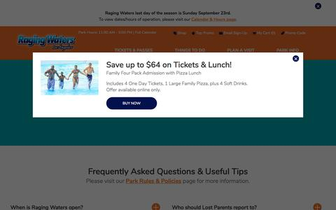 Screenshot of FAQ Page ragingwaters.com - Frequently Asked Questions & Tips | Raging Waters Los Angeles - captured Sept. 23, 2018