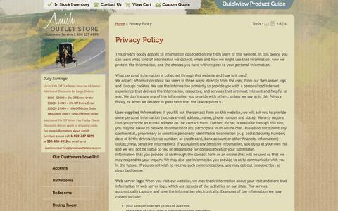 Screenshot of Privacy Page amishoutletstore.com - Privacy Policy   Amish Outlet Store - captured July 25, 2016