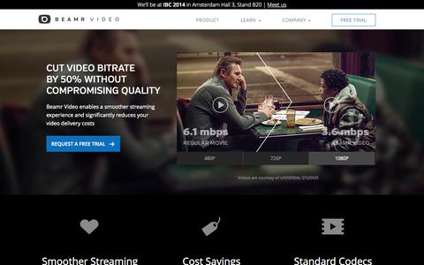 Screenshot of Home Page beamrvideo.com - Beamr Video - Cut Bitrate By 50% - captured Sept. 13, 2014