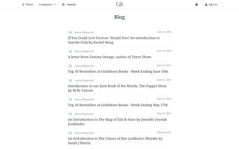Screenshot of Blog goldsborobooks.com - Blog | Goldsboro Books - captured July 21, 2018