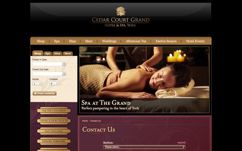 Screenshot of Contact Page cedarcourtgrand.co.uk - The Grand - York's 5-Star Luxury Hotel - captured Oct. 2, 2014