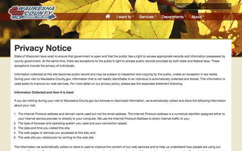 Screenshot of Privacy Page waukeshacounty.gov - Waukesha County -      Privacy - captured Dec. 5, 2016