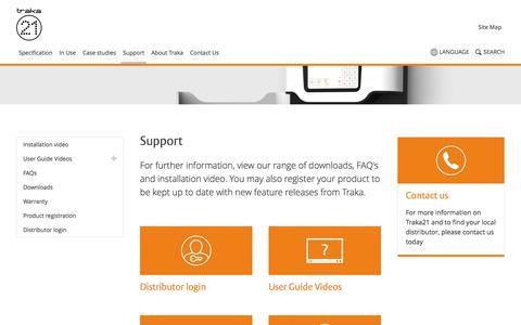 Screenshot of Support Page traka21.com - Support - Traka21 - captured Nov. 25, 2017