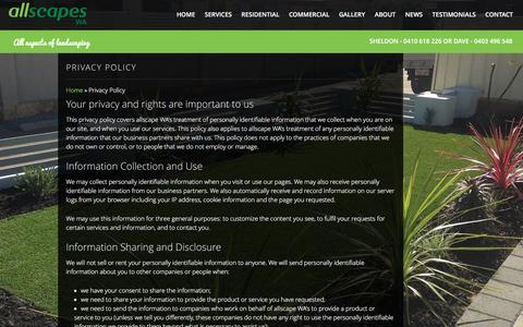Screenshot of Privacy Page allscapeswa.com.au - Privacy Policy - Allscapes WA - captured Dec. 28, 2015