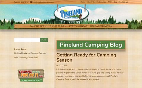Screenshot of Blog pinelandcamping.com - Blog   Pineland Camping Park - captured Sept. 28, 2018