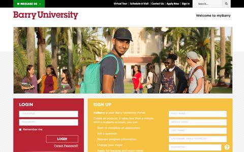 Screenshot of Login Page barry.edu - myBarry Login: Barry University, Miami Shores, Florida - captured Oct. 5, 2018