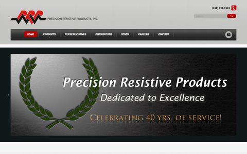 Screenshot of Home Page prpinc.com - Precision Resistive Products | Precision Resistive Products, Inc. - captured Sept. 29, 2018